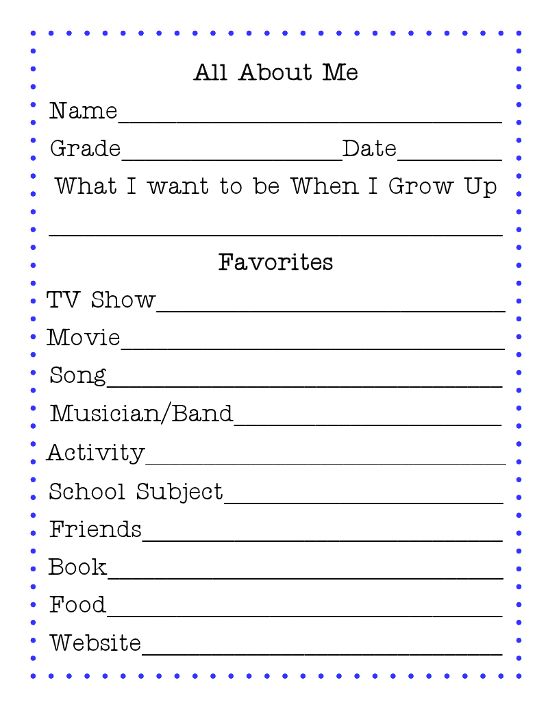 about me template for students - making back to school fun