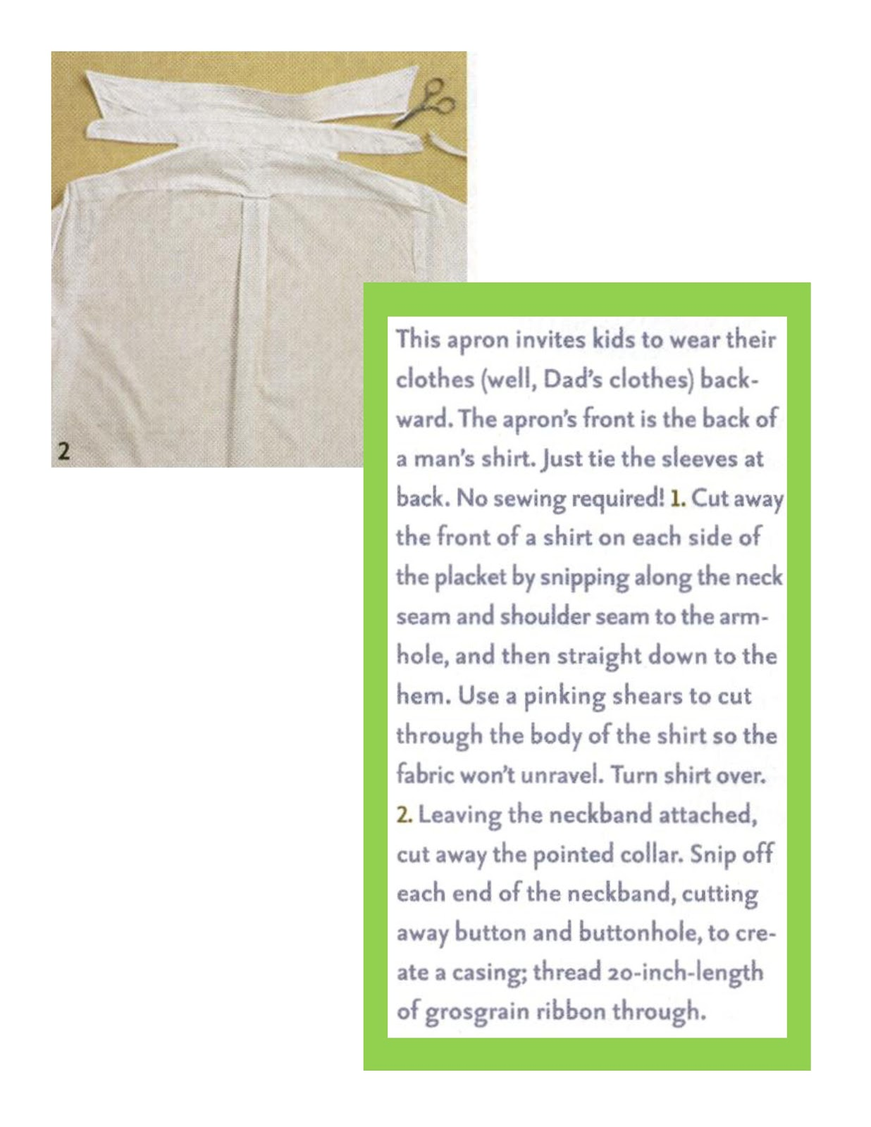 how to make an apron from a mans shirt