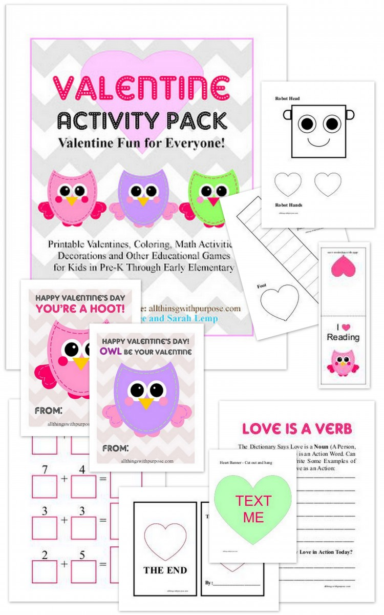 Free Printable Valentine Activity Pack: math, writing, Valentine cards, robot coloring, lots more!