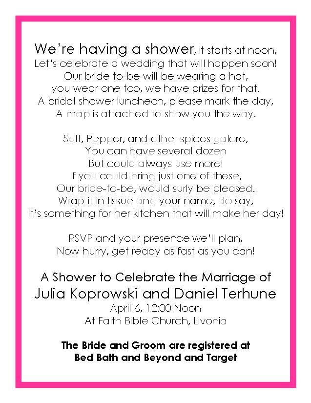 Wedding shower gift basket poem gallery wedding decoration ideas bridal shower gift cleaning supplies and poem 28 images wedding filmwisefo