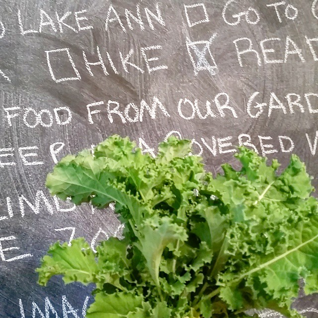 Eat food from our garden Check! summerbucketlist chalkboardwall kale