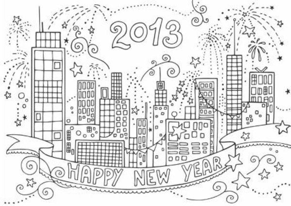 new year coloring pages 2013 | Last Minute New Year Party Printables and Ideas | All ...