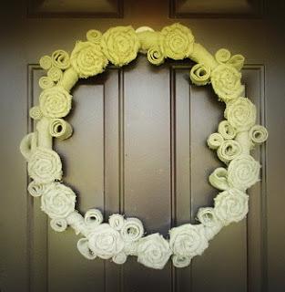 Rolled Flower Burlap Wreath