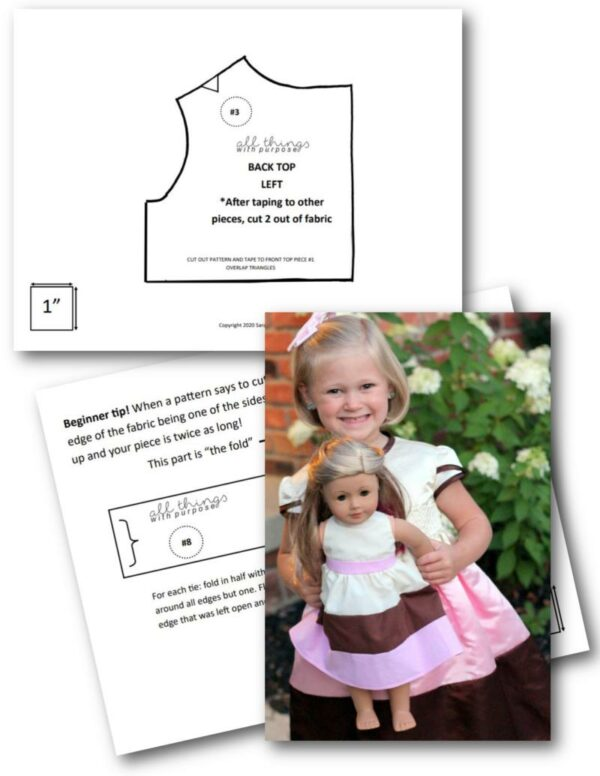 """Neapolitan 18"""" Doll Dress Pattern and Class (Digital Download) All Things with Purpose Sarah Lemp"""