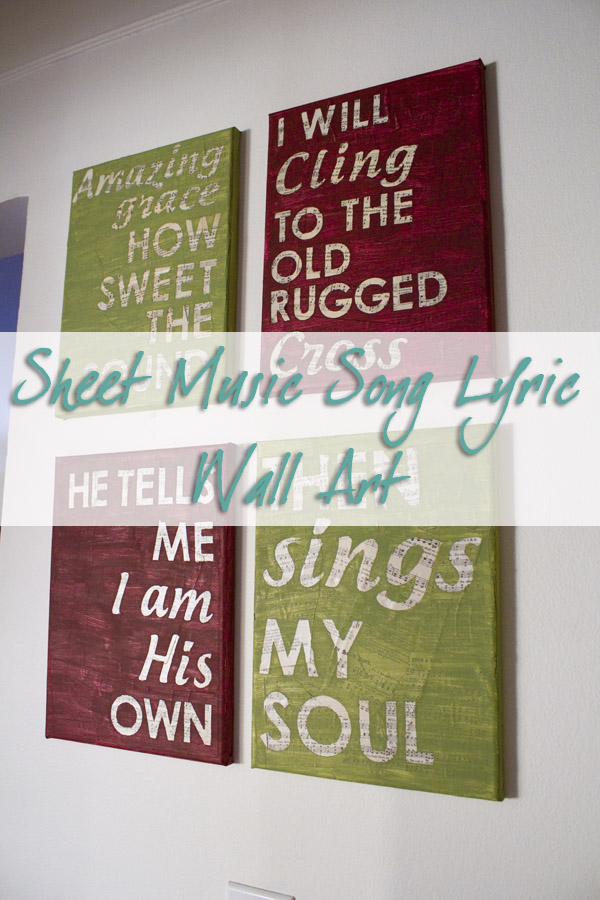 DIY Sheet Music Lyric Canvas Wall Art