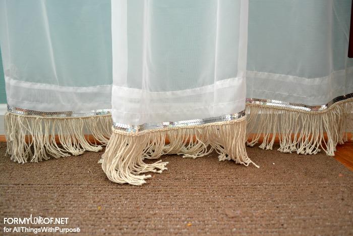 detailed sequin and fringe embellished sheer curtains