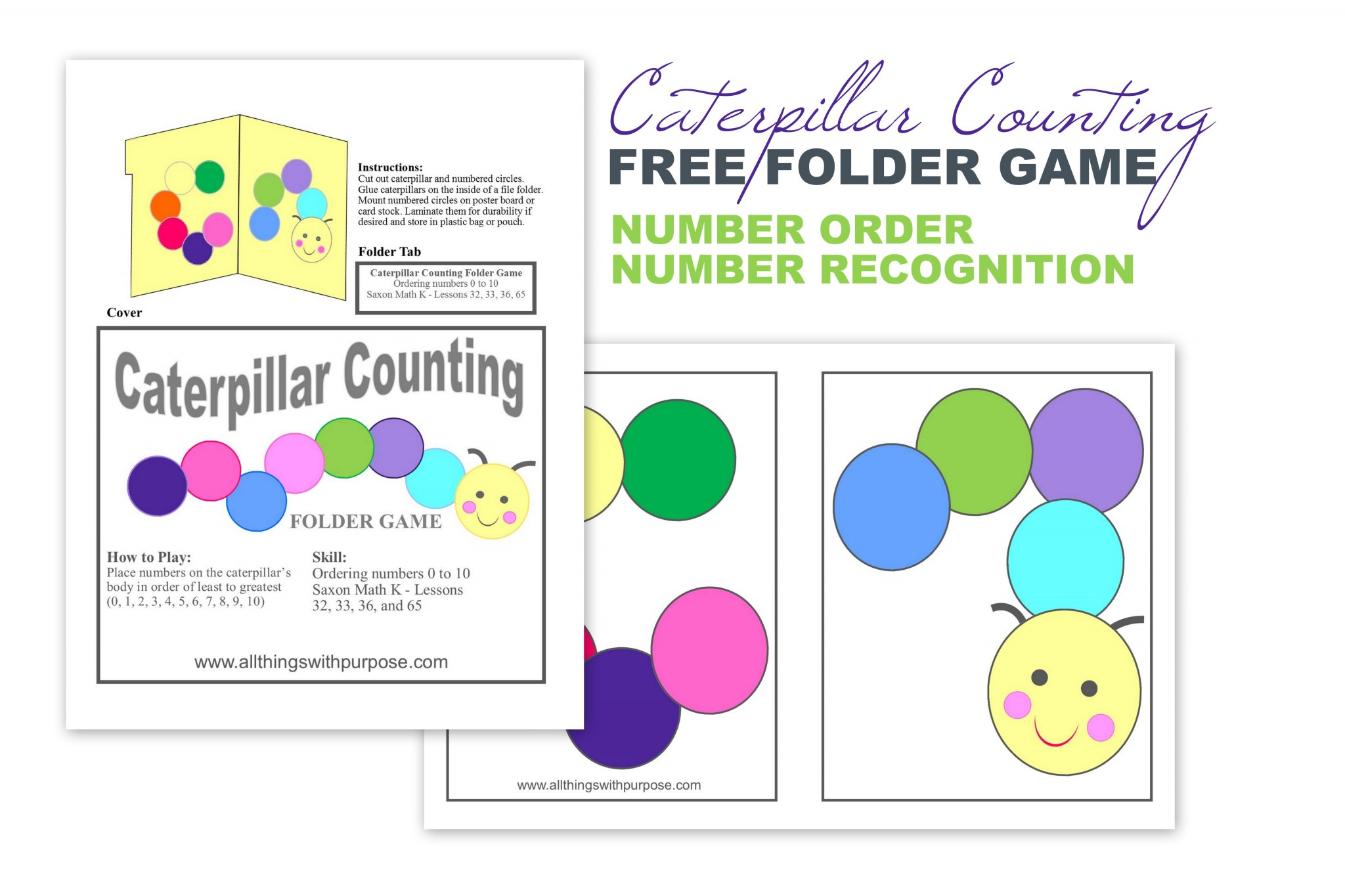 Caterpillar Counting Folder Game