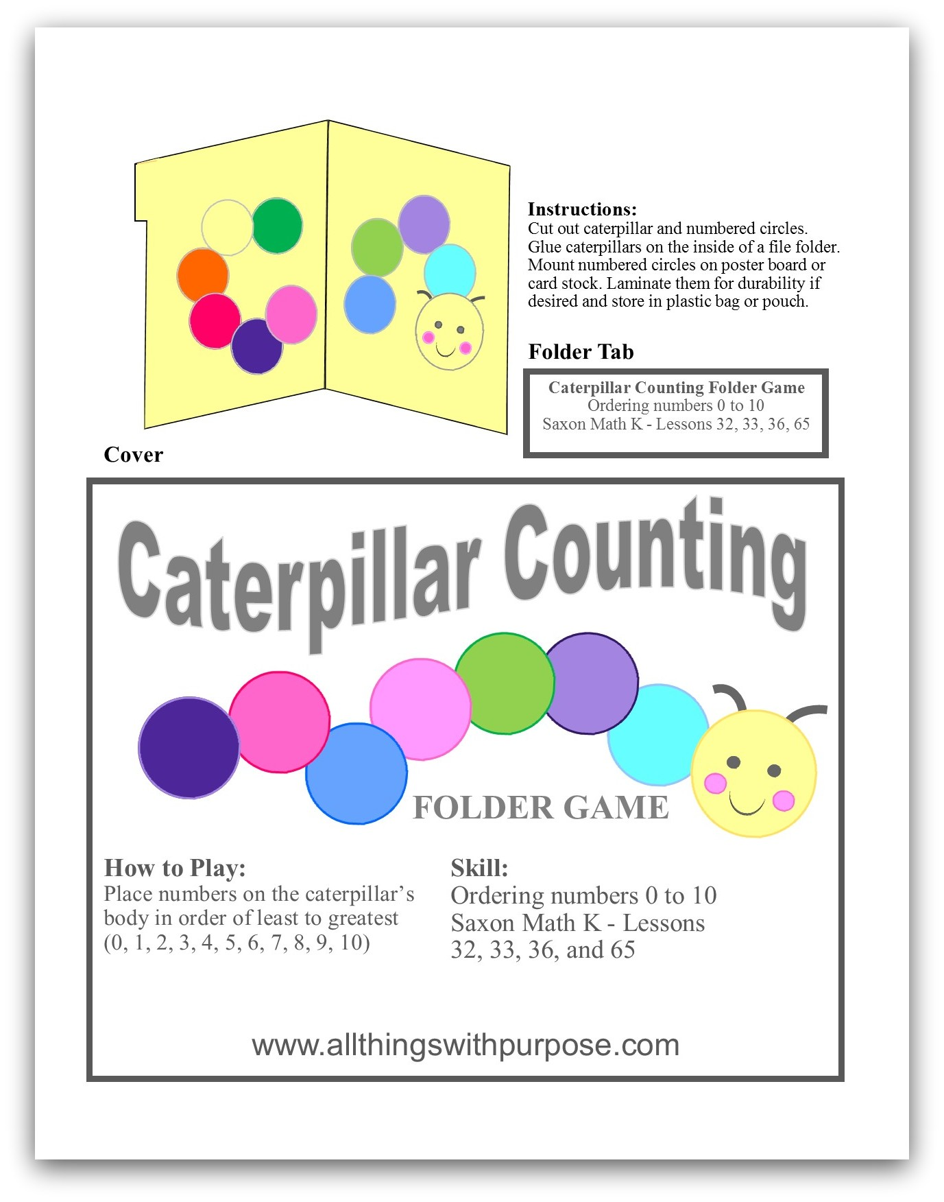 free caterpillar counting folder game
