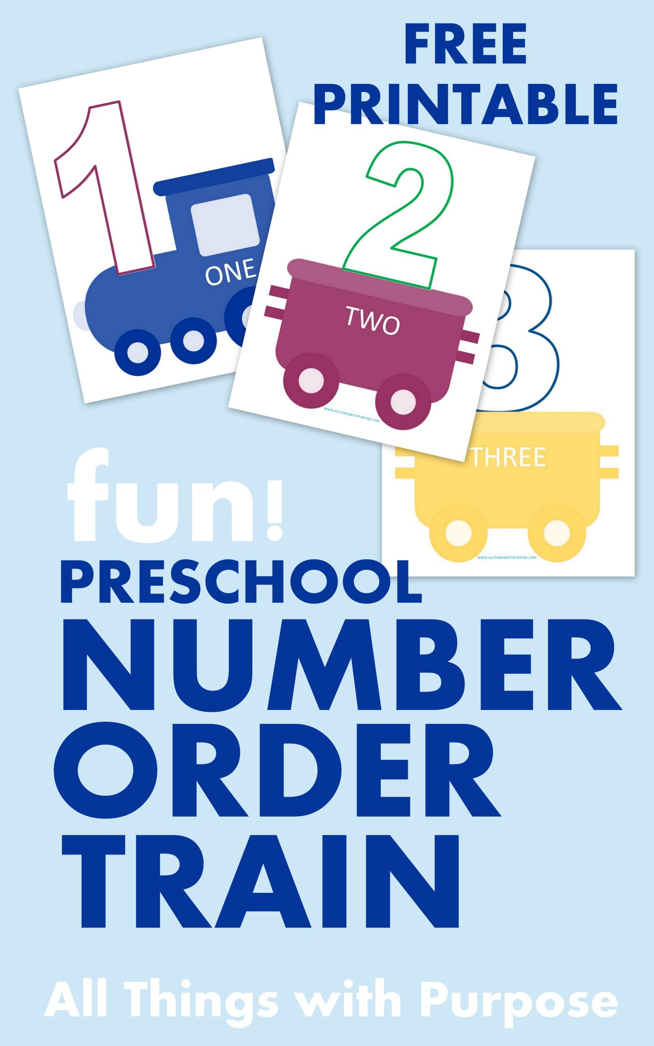 Preschool Number Train Printable