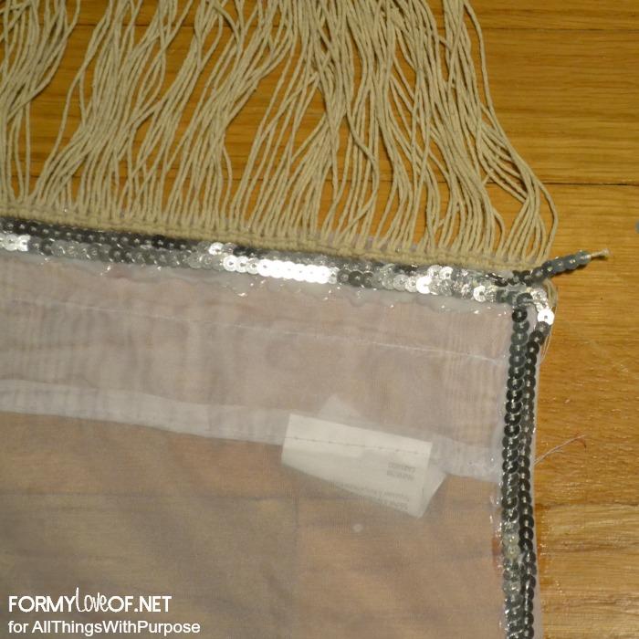 press sequin ribbon into glue