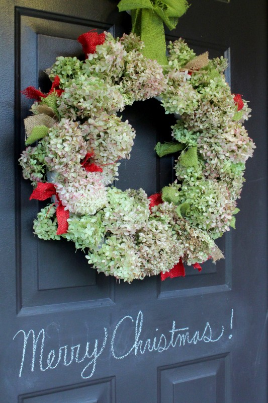 Hydrangea Christmas Wreath Front Door