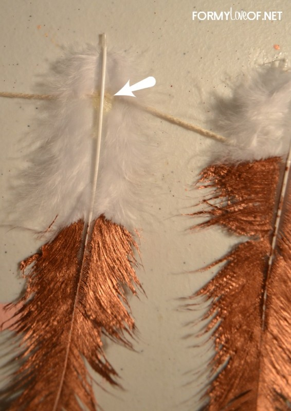 dollop of hot glue onto string and press feather into the glue