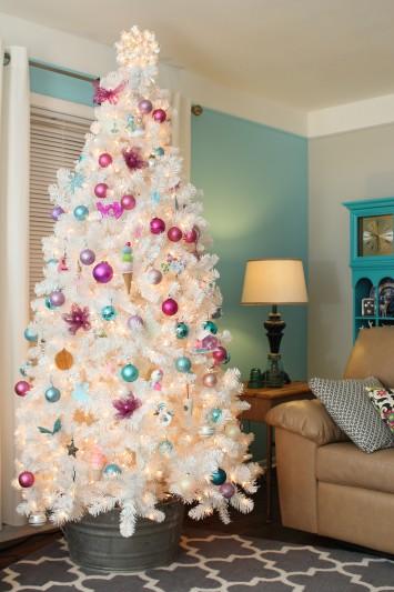 white christmas tree vintage inspired