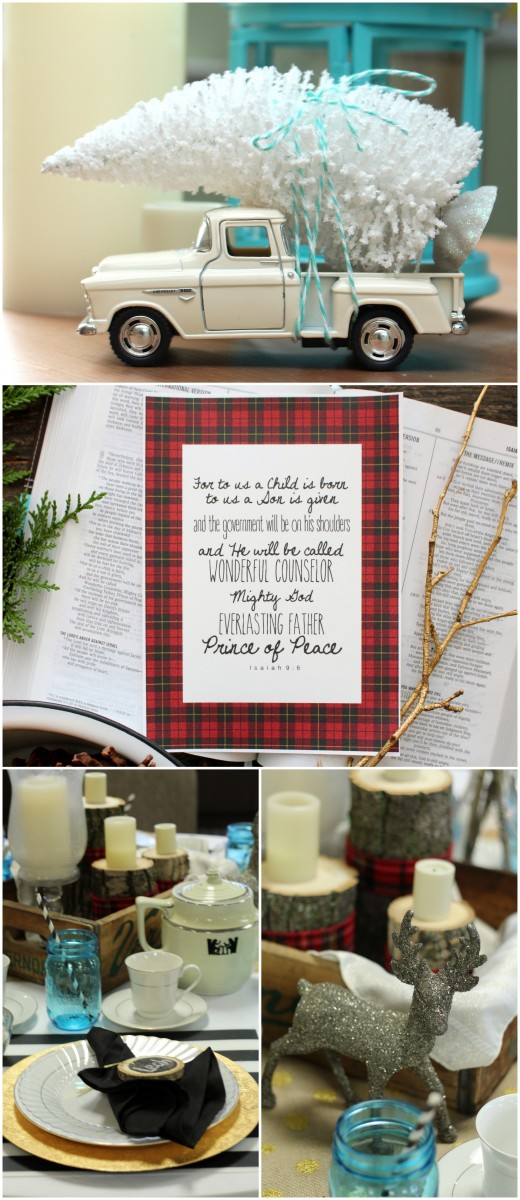 White bottle brush tree on a truck, plaid printable and cut wood centerpieces