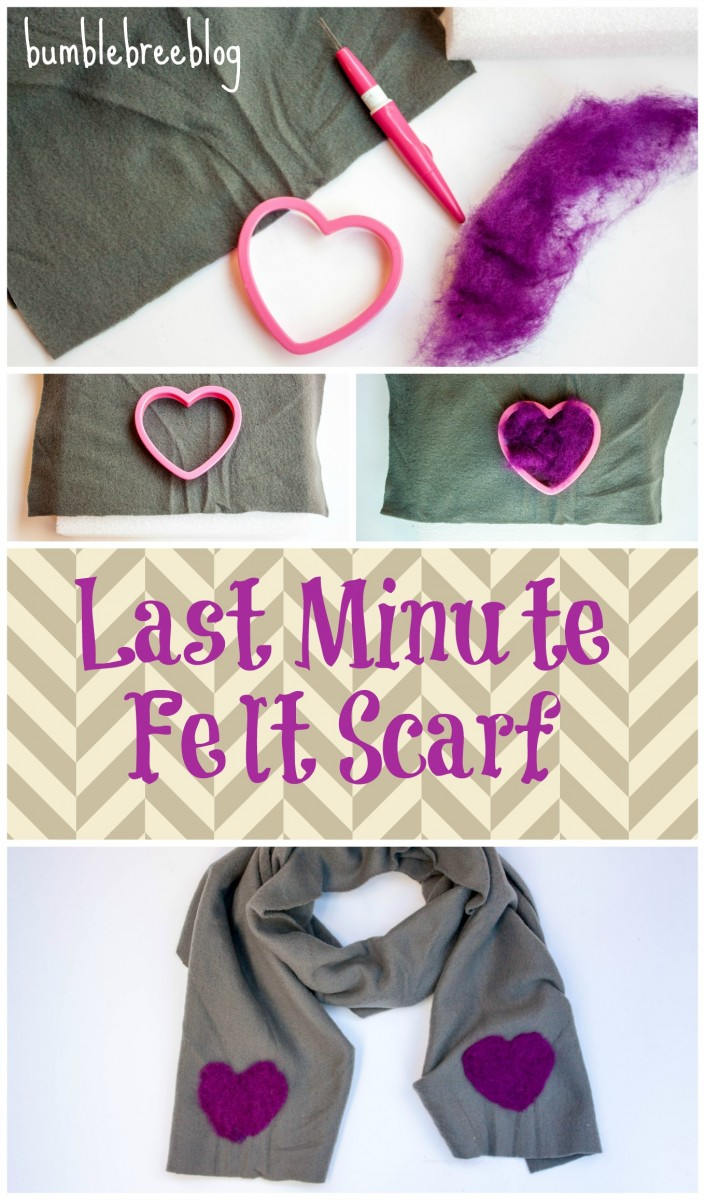 Learn to make this last minute felt scarf. It is super easy, fast, and completely no sew. All you need is some fleece, wool roving, and a cookie cutter.