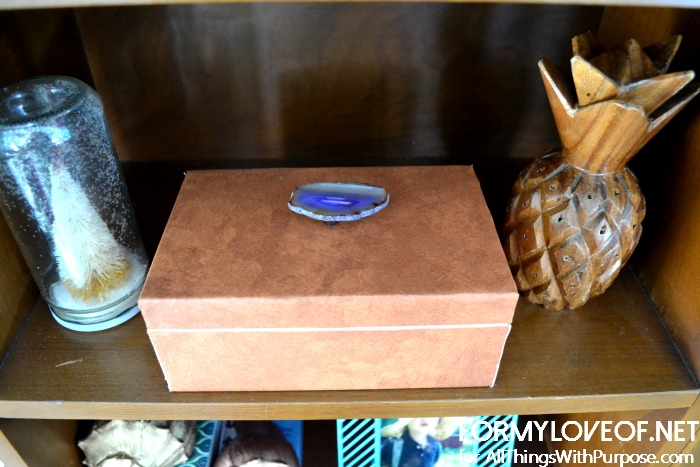 leather wrapped box with agate slive knob