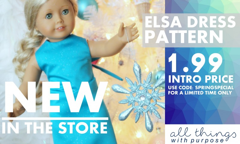 Elsa Dress Pattern for American Girl 18″ Dolls