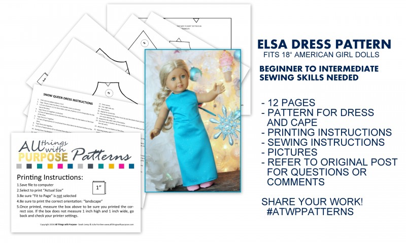 "elsa dress pattern for american girl 18"" dolls"