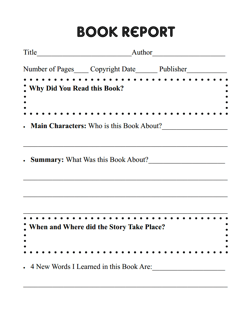 Printable Book Report Page