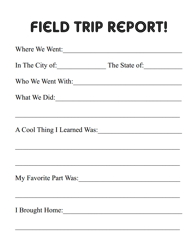 field trip report template