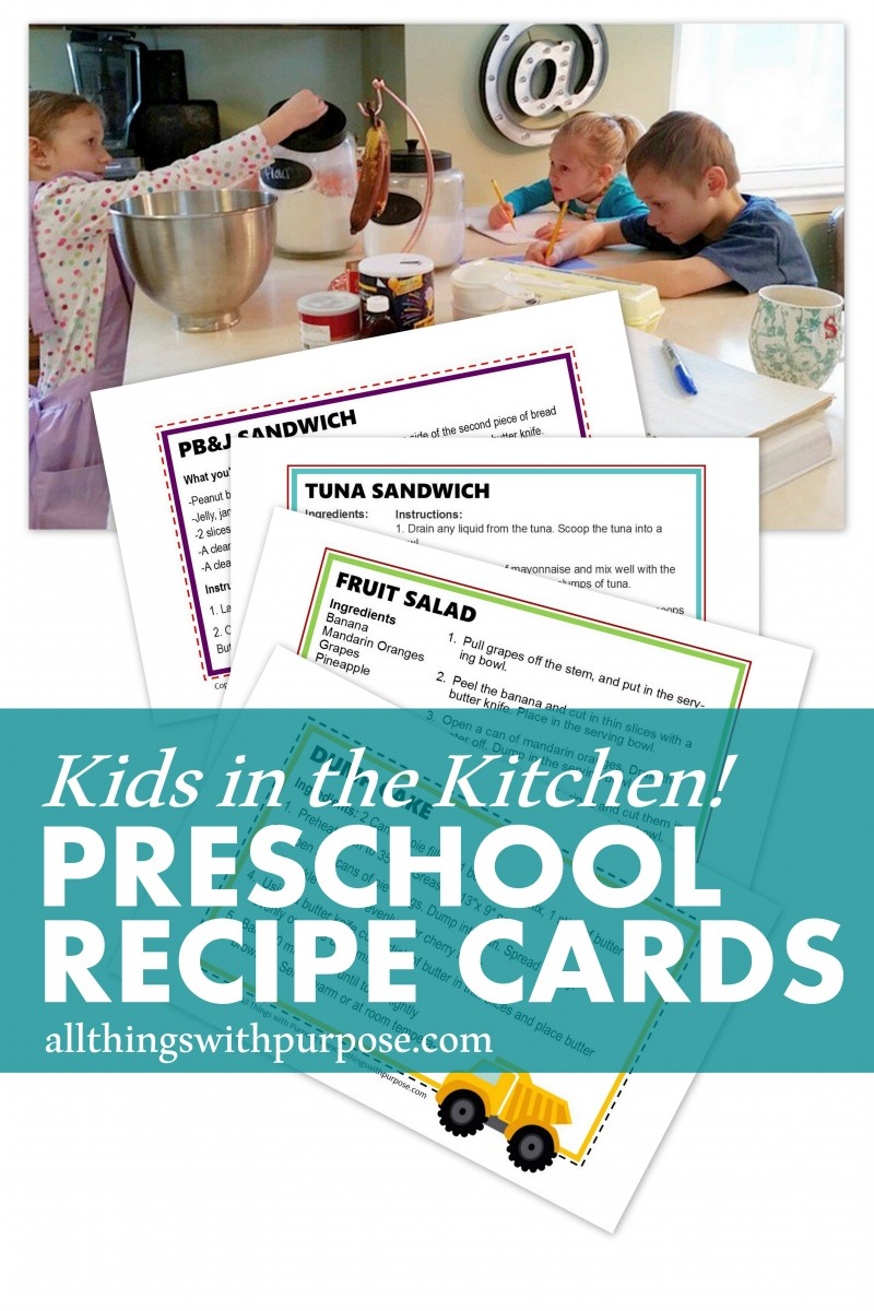 kids in the kitchen - easy recipes for preschoolers and free printable recipe cards!