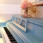 diy blue painted piano