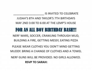 birthday party invite