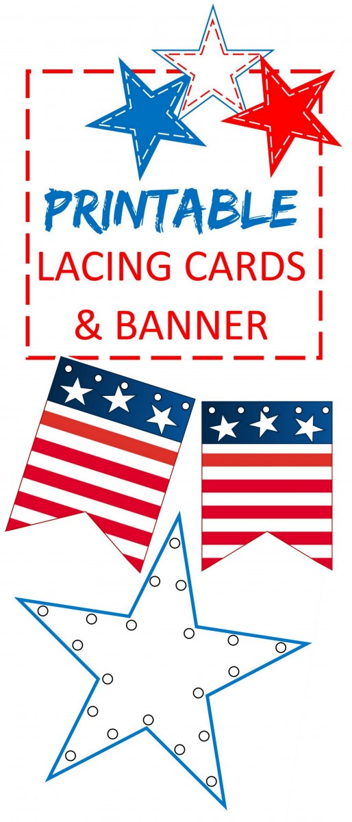 red white and blue lacing cards