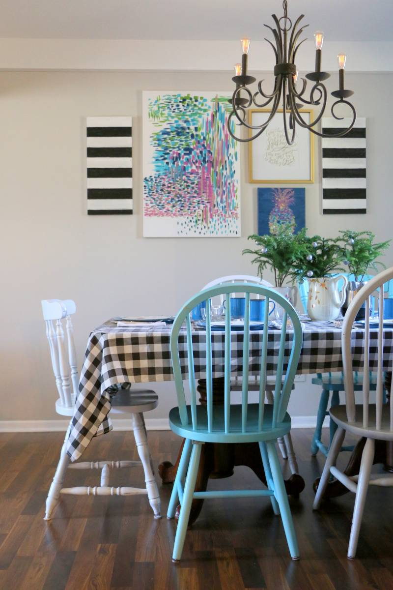 bright and fun dining room for christmas - stripes and plaid
