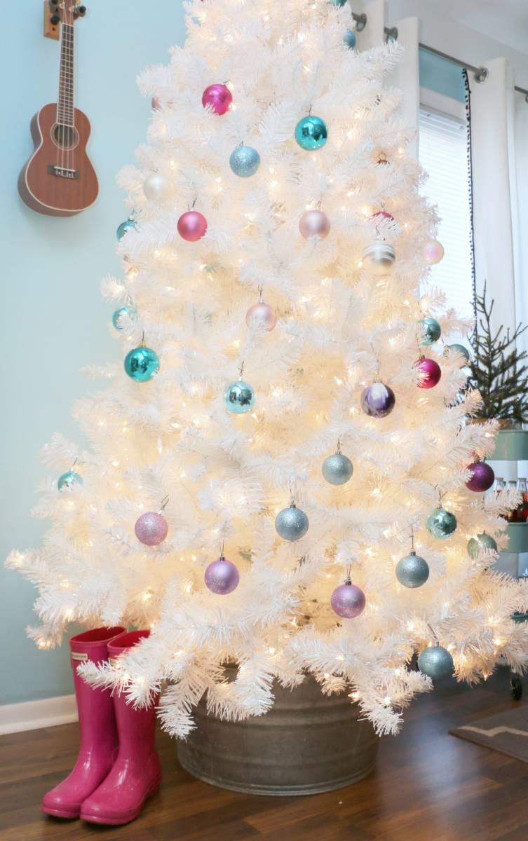 white Christmas tree and galvanized metal base