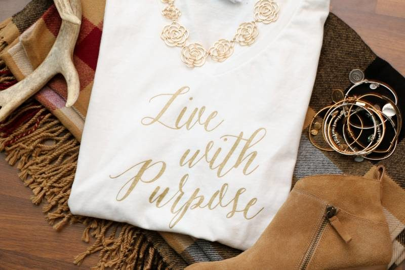 "Gold Foil ""Live with Purpose"" Shirts"