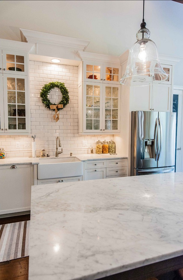 subway tile kitchen - marble counter