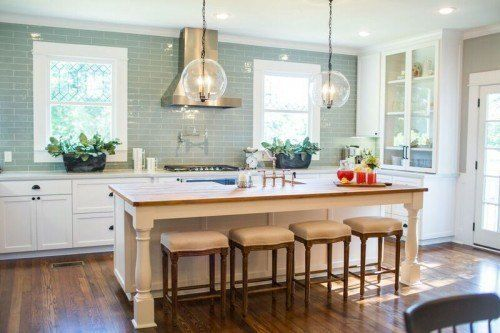 fixer upper kitchen season 3 - blue green subway tile