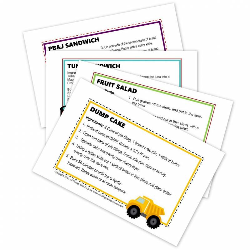 preschool recipe cards