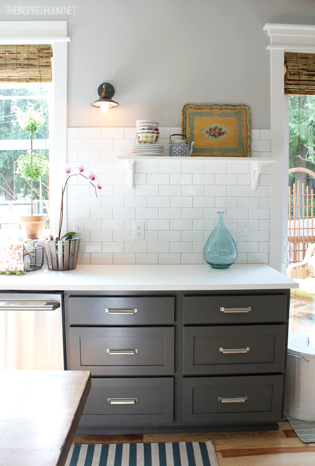 kitchen makeover - subway tile and espresso cabinets