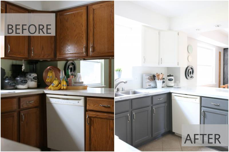 My fixer upper inspired kitchen reveal for Painting kitchen countertops before and after