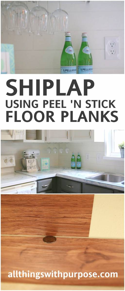 create the look of shiplap with peel and stick vinyl flooring!