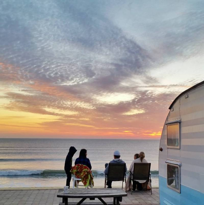 gorgeous ocean front camping in a vintage camper