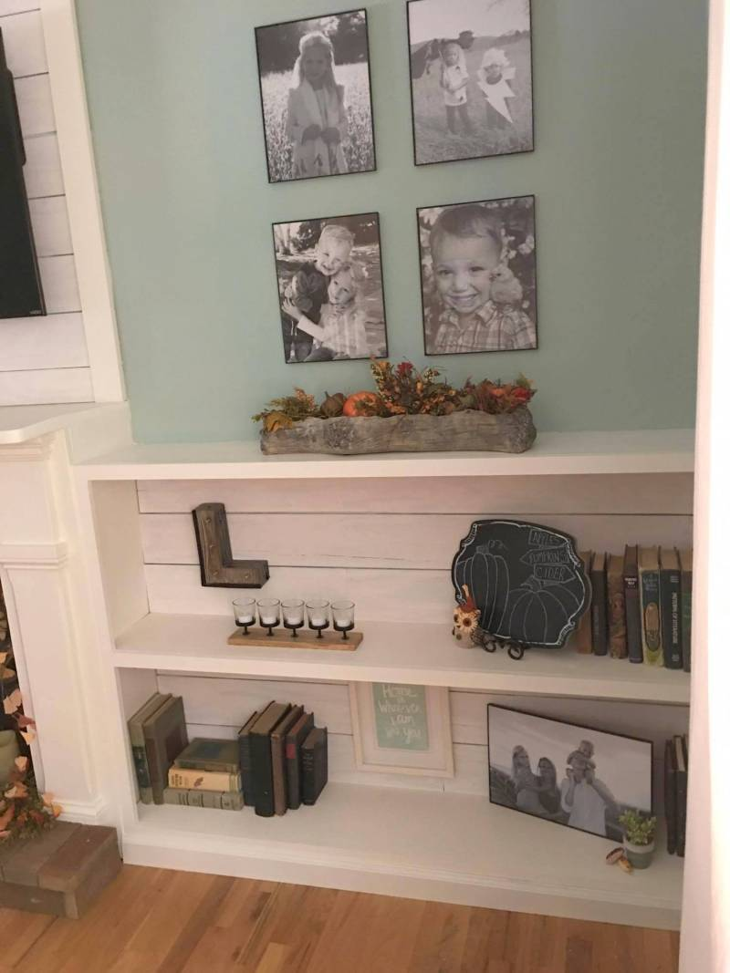 faux shiplap fireplace and custom shelves