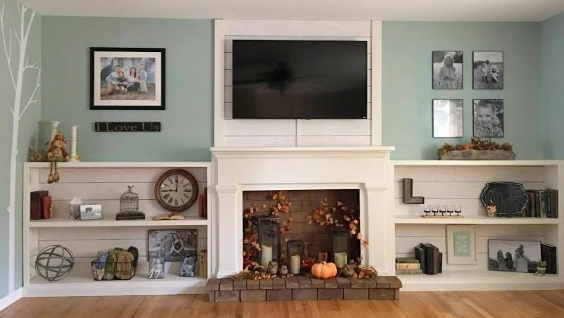 Faux Shiplap Fireplace and Custom Shelves 3