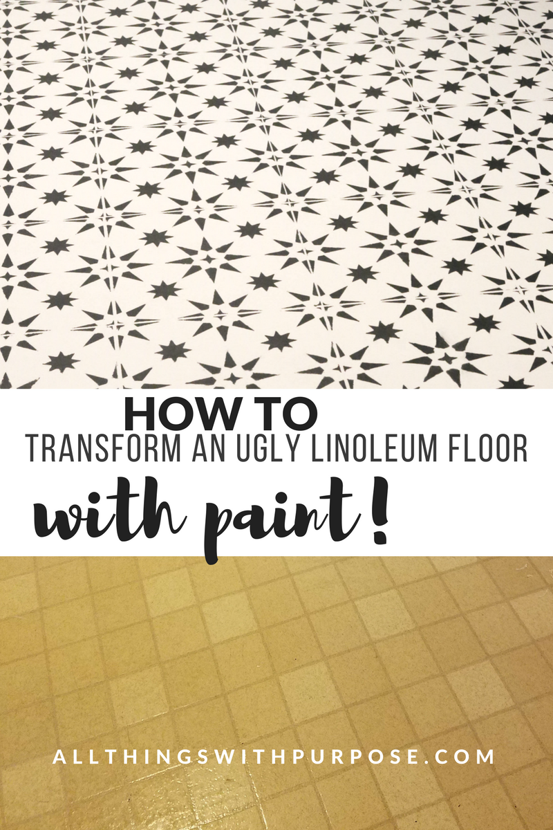 DIY Stenciled Floor Over Ugly Linoleum