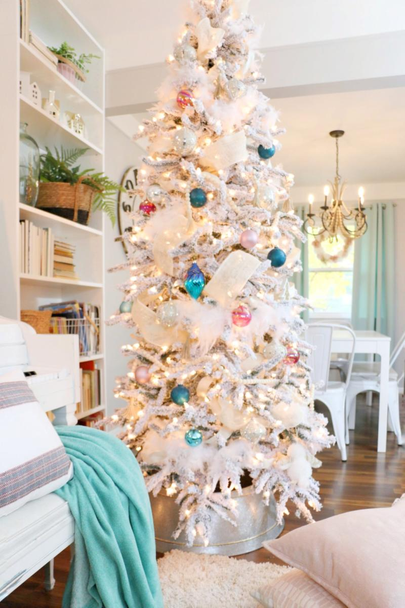 Christmas Home Tour Rustic Glam Flocked Tree With Pastel Colors