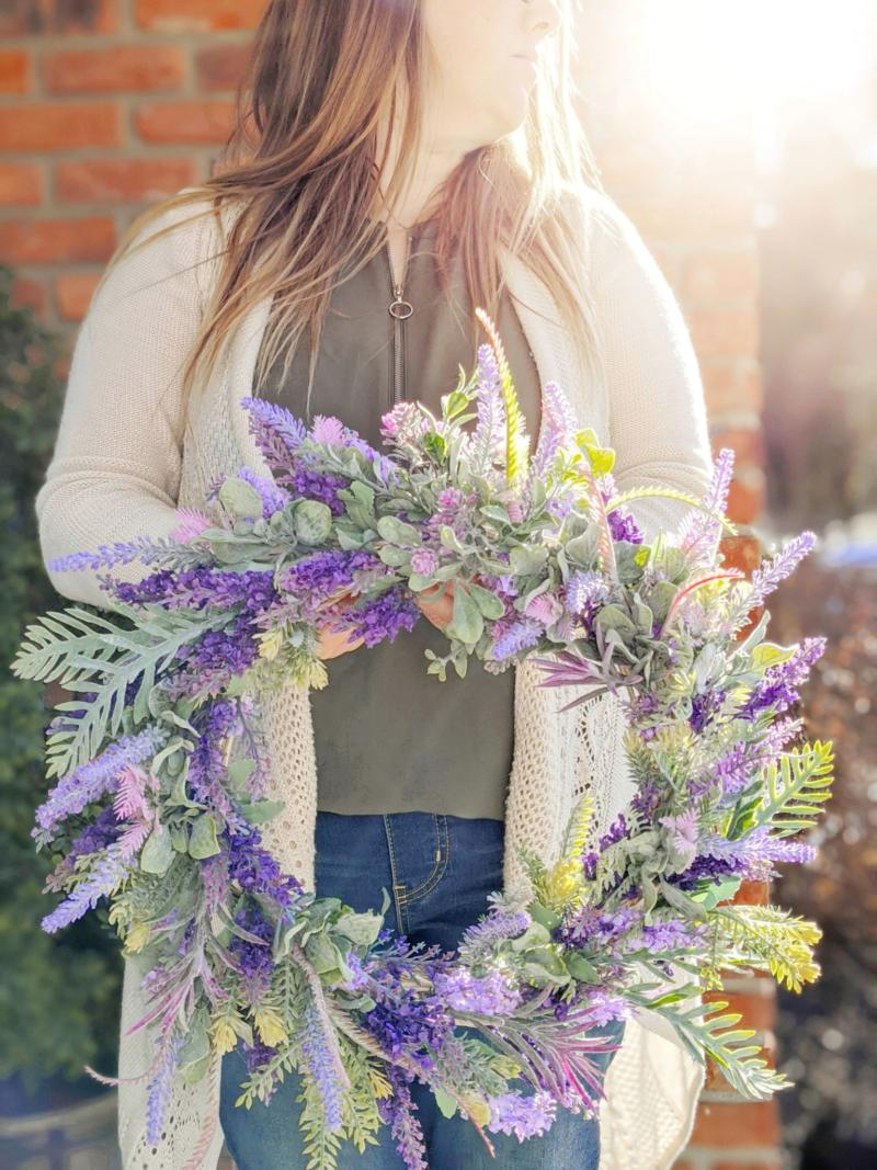 Diy Dollar Store Lavender And Lambs Ear Wreath For Spring