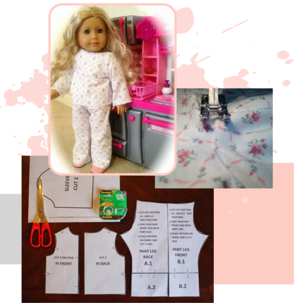 "18"" Doll PJ Pattern (Digital Download) All Things with Purpose Sarah Lemp"